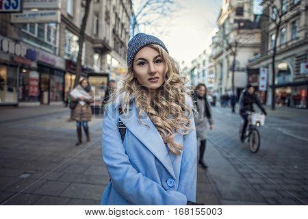 Streetstyle portrait of fashion woman in European city