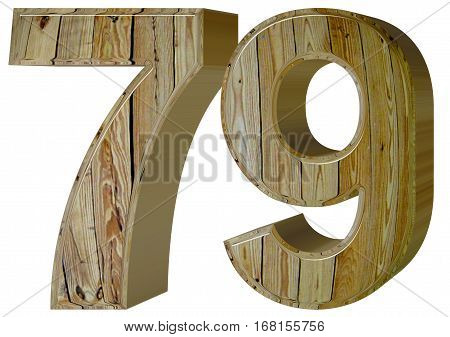 Numeral 79, Seventy Nine, Isolated On White Background, 3D Rende