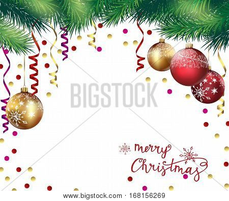Christmas And New Year background with Christmas branches and Christmas balls. Template Vector.