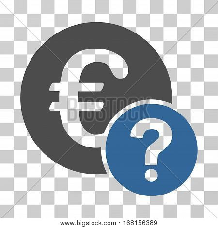 Euro Status icon. Vector illustration style is flat iconic bicolor symbol, cobalt and gray colors, transparent background. Designed for web and software interfaces.