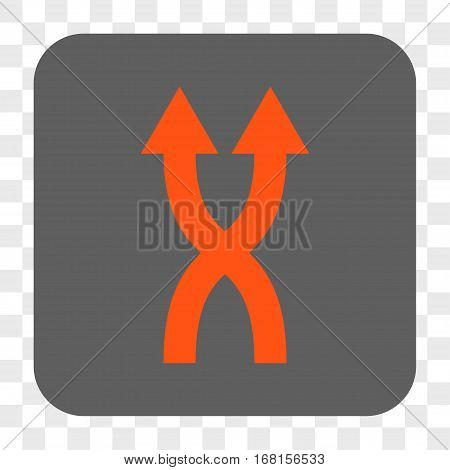 Shuffle Arrows Up interface toolbar button. Vector icon style is a flat symbol in a rounded square button orange and gray colors chess transparent background.