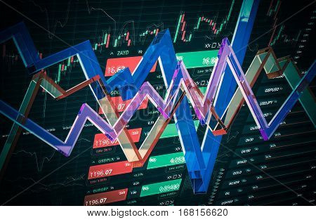Colorful 3D Forex Concept Illustration. Forex Trading.