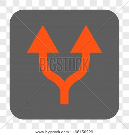 Split Arrows Up interface toolbar button. Vector icon style is a flat symbol on a rounded square button orange and gray colors chess transparent background.