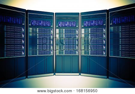Hosting Servers Room Concept 3D Illustration. Hosting Server Machines Rack.
