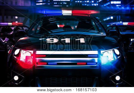 Police Night Shift Intervention Conceptual 3D Rendered Illustration.