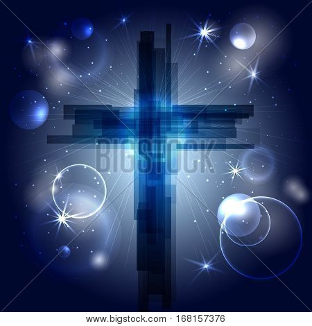 Abstract cross with rays, stars and particles. Ash Wednesday. Start of lent, The symbol of the Christian religion. Vector design. Night sky, space.