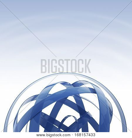 Blue Sphere Background with Copy Space. 3D Rendered Sphere Shape Concept.