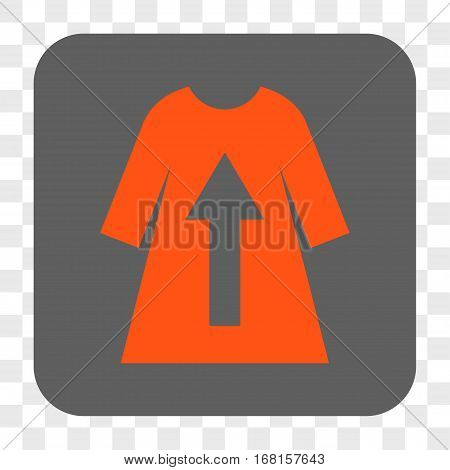 Take Off Female Dress interface toolbar button. Vector icon style is a flat symbol in a rounded square button orange and gray colors chess transparent background.