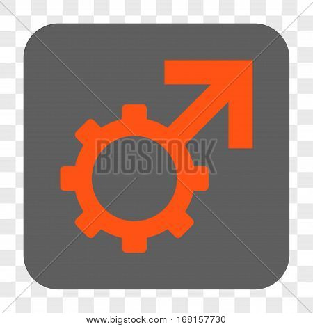 Technological Potence interface toolbar button. Vector icon style is a flat symbol in a rounded square button orange and gray colors chess transparent background.