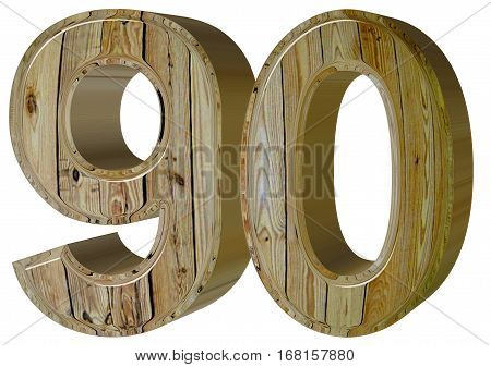 Numeral 90, Ninety, Isolated On White Background, 3D Render
