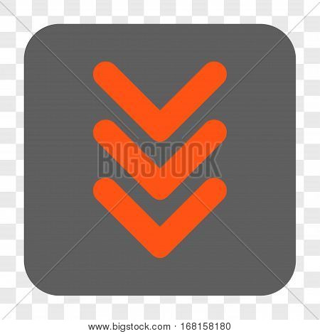 Triple Arrowhead Down interface toolbar button. Vector icon style is a flat symbol in a rounded square button orange and gray colors chess transparent background.