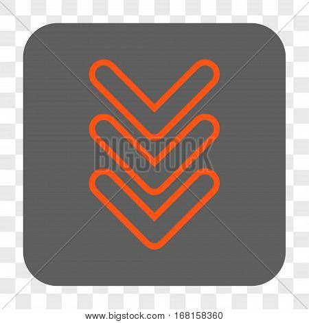 Triple Pointer Down interface toolbar button. Vector icon style is a flat symbol in a rounded square button orange and gray colors chess transparent background.