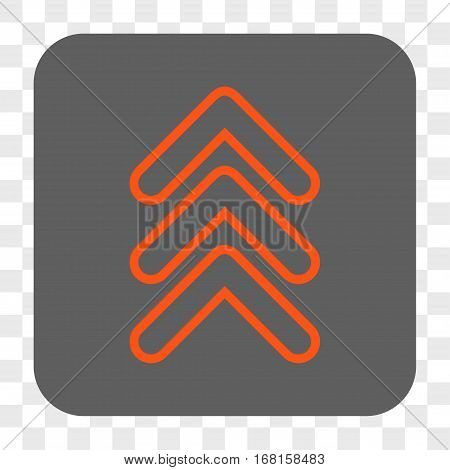 Triple Pointer Up interface toolbar button. Vector icon style is a flat symbol in a rounded square button orange and gray colors chess transparent background.