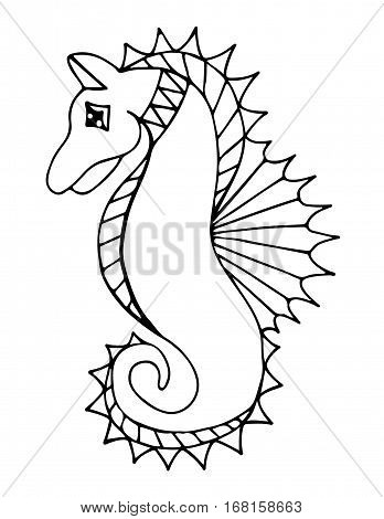 Black line sea horse on the white background. For coloring book tattoo and other design.