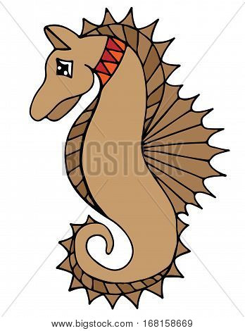 Colorful sea horse on the white background. Can be used for card invitation posters texture backgrounds placards banners.