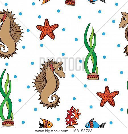 Seamless pattern with fish sea horse and coral on the white background. Can be used for printing on fabric for wrapping paper and for the background of the site.