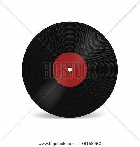 Vinyl LP record with red label. Black musical long play album disc 33 rpm. Old technology realistic retro design vector mockup illustration isolated on white background