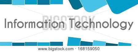Information technology text written over blue background.