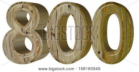 Numeral 800, Eight Hundred, Isolated On White Background, 3D Ren