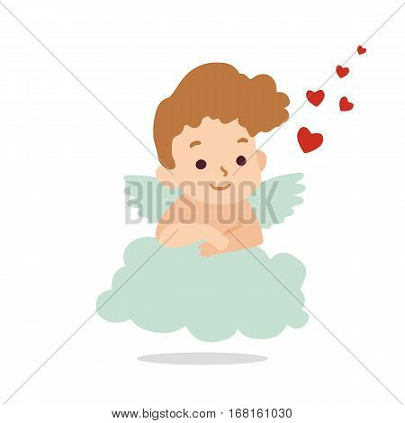 Cupid hovers in the clouds. Vector illustration