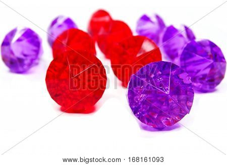 ruby gem and amethyst stones crystals isolated on white background