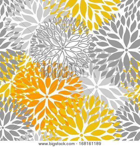 Orange and grey flower seamless pattern. Chrysanthemum flowers background for web, print, textile, wallpaper design