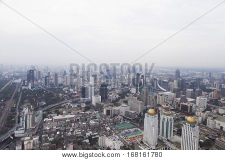 The townscape from above in a cloudy awning bores