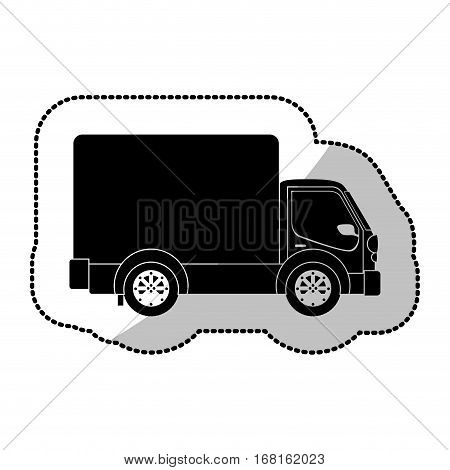 monochrome sticker transport truck with wagon and wheels vector illustration