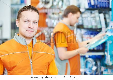 portrait of caucasian hardware store salesman