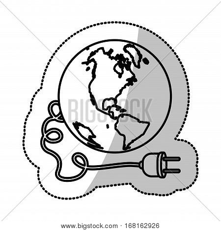 monochrome silhouette sticker with world and power cord with stain petroleum vector illustration