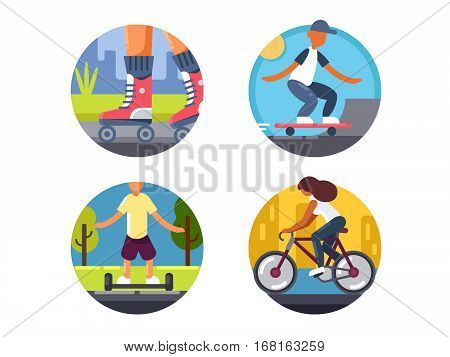 Ride bicycles or roller skate. Vector illustration. Pixel perfect icons size - 128 px