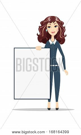 Woman holding a blank A1 poster. Female business model. Smiling girl isolated.