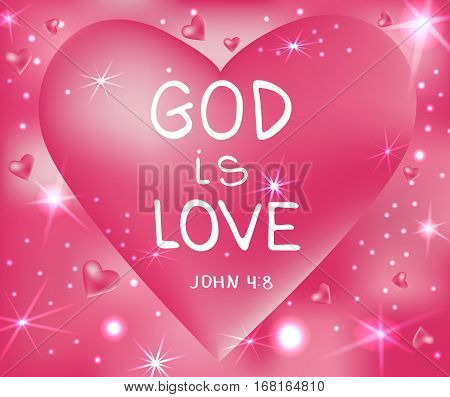 God is love . Bible lettering. Brush calligraphy. Hand drawing illustration. Words about God. Vector design.