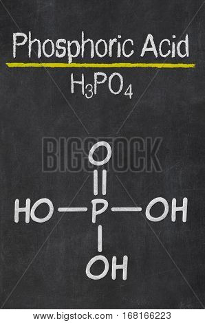 Blackboard With The Chemical Formula Of Phosphoric Acid