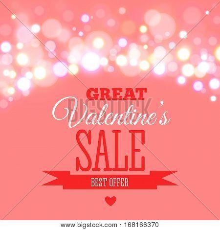 Valentines day sale offer, banner template. Vector illustration in pink colour with lettering Big Valentines Sale on blurred background. Shop market poster design.