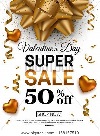 Valentines Day sale banner for online shopping. Vector illustration.