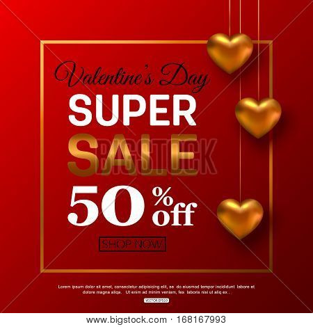 Valentines Day sale banner for advertising actions. Vector illustration.