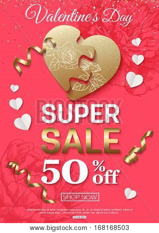 Valentines Day sale banner for online shop, supermarket, retail chains. Vector illustration.