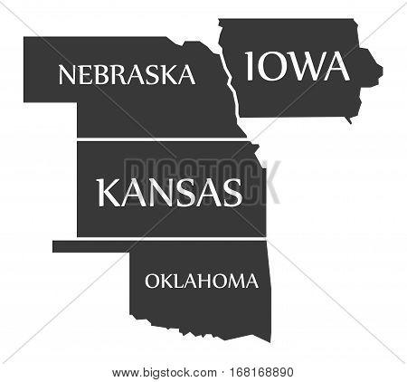 Nebraska - Kansas - Oklahoma - Iowa Map Labelled Black