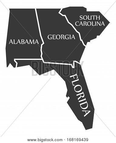 Alabama - Georgia - South Carolina - Florida Map Labelled Black
