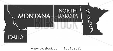 Idaho - Montana - North Dakota - Minnesota Map Labelled Black