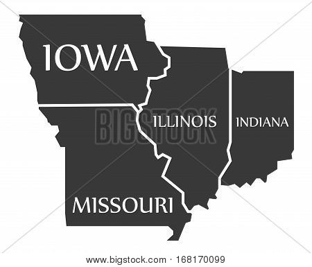 Iowa - Missouri - Illinois - Indiana Map Labelled Black