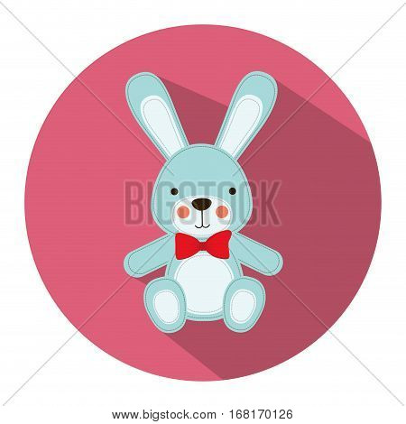 color silhouette with Stuffed rabbit in round frame vector illustration