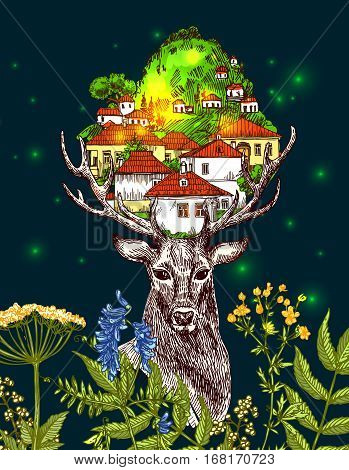 Illustration deer and houses. Boho style. Drawing by hand.