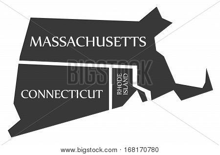 Massachusetts - Connecticut - Rhode Island Map Labelled Black