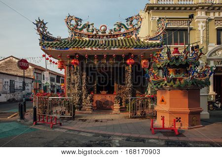GEORGE TOWN MALAYSIA - MARCH 21: Sunset view of the Choo Chay Keong Temple adjoined to Yap Kongsi clan house Armenian Street George Town Penang Malaysia on March 21 2016.