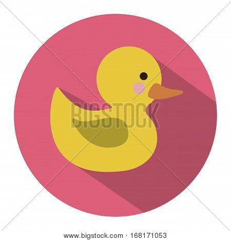 color silhouette with yellow duck bath in round frame