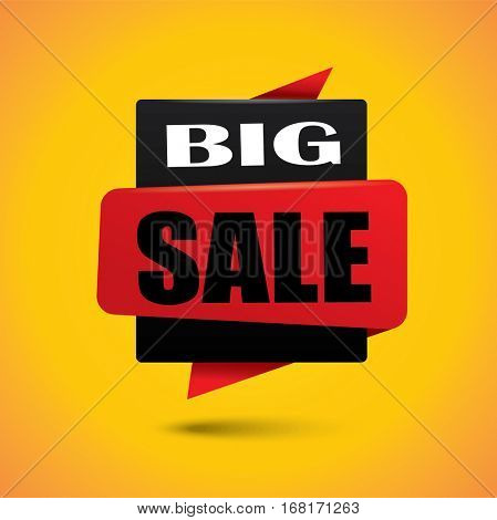 Big sale price bubble banner in black and red colors