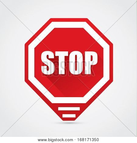 Stop sign - vector flat design with shadow