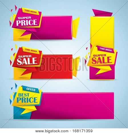 Promotional sale banner set in vibrant colors
